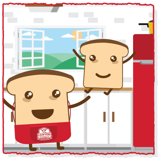 bread characters in kitchen with open window